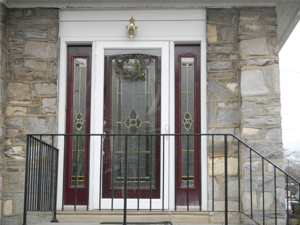 Full Lite Leaded Glass Door With Leaded Sidelites And Storm Door