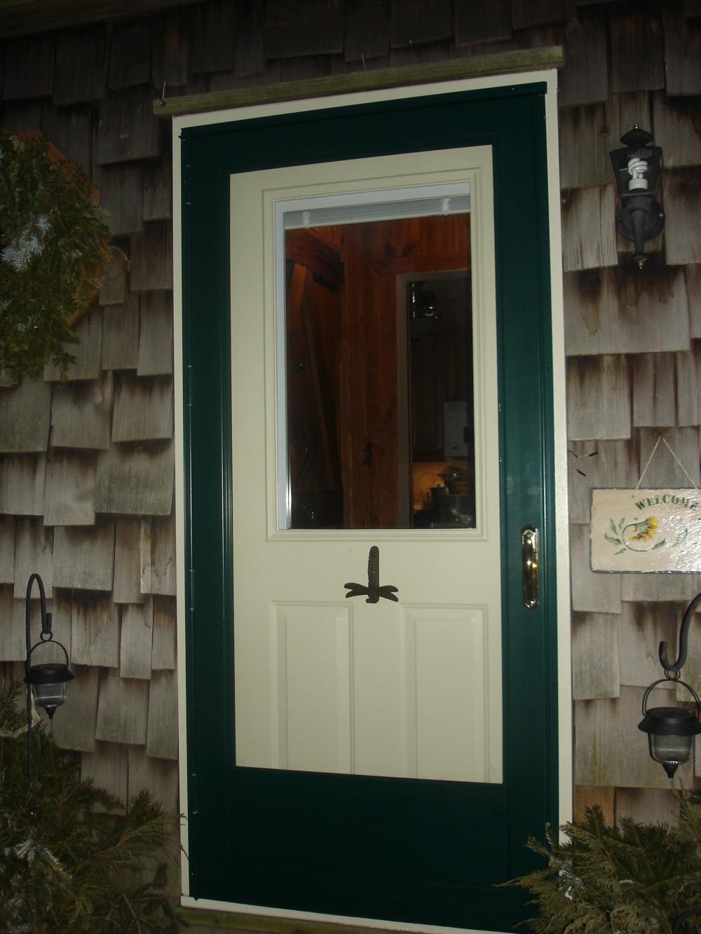 half glass door with internal blind raised