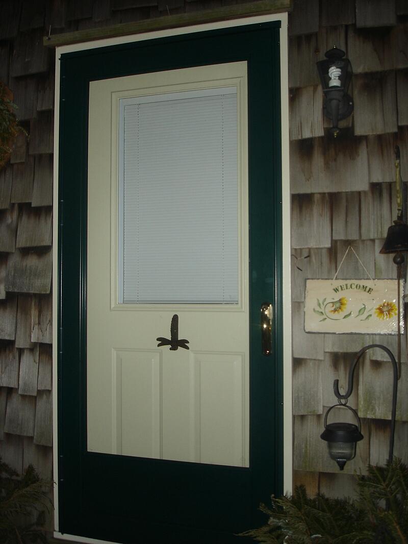 Steel door with operating blinds between glass panes