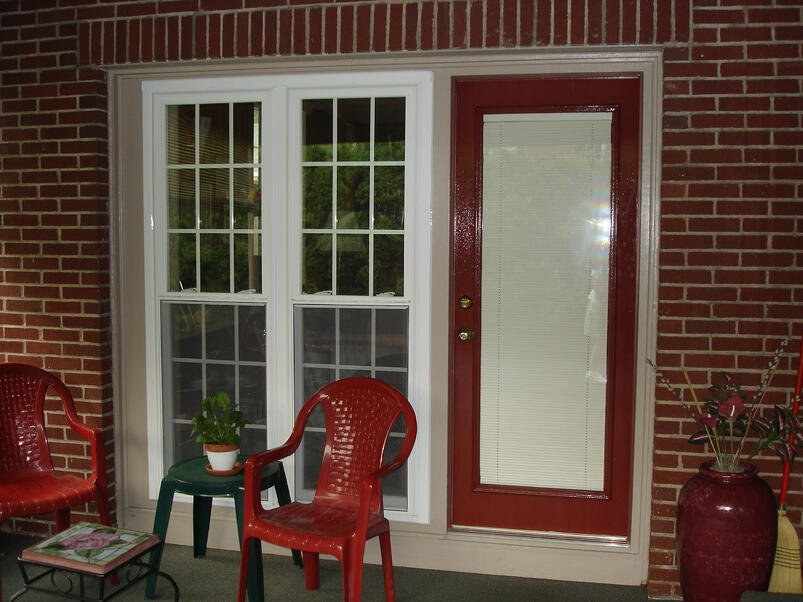 steel door with internal blinds closed