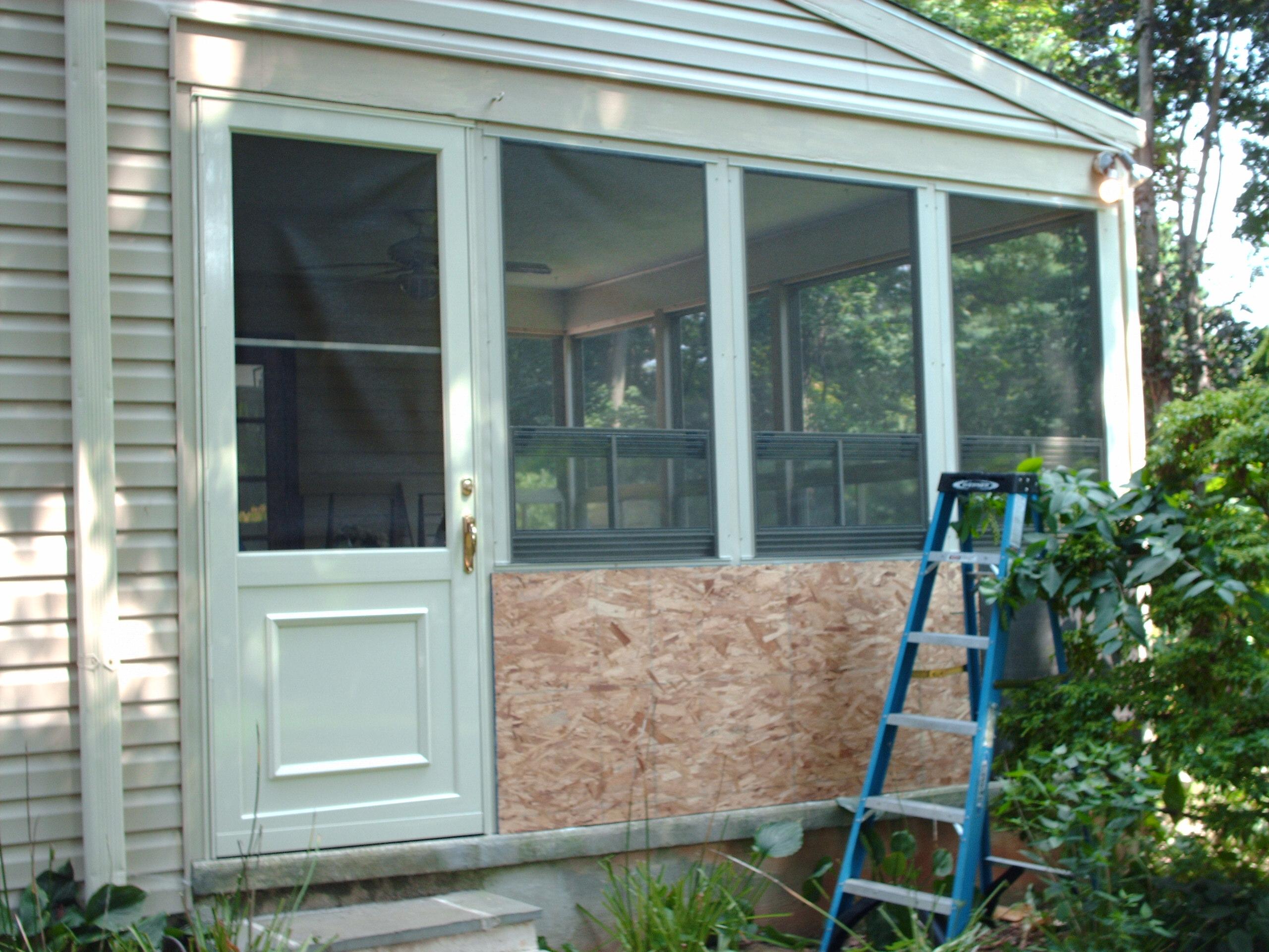 The storm door is installed