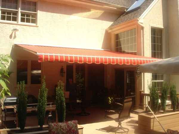 color coordinated woven acrylic fabric for motorized retractable awning