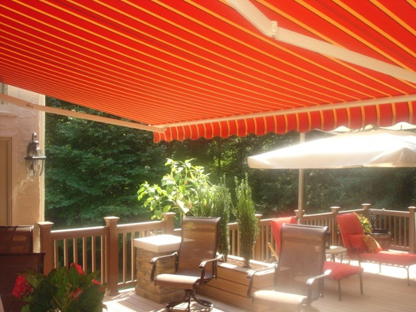 Awning fabric to match furniture on this motorized retractable awning