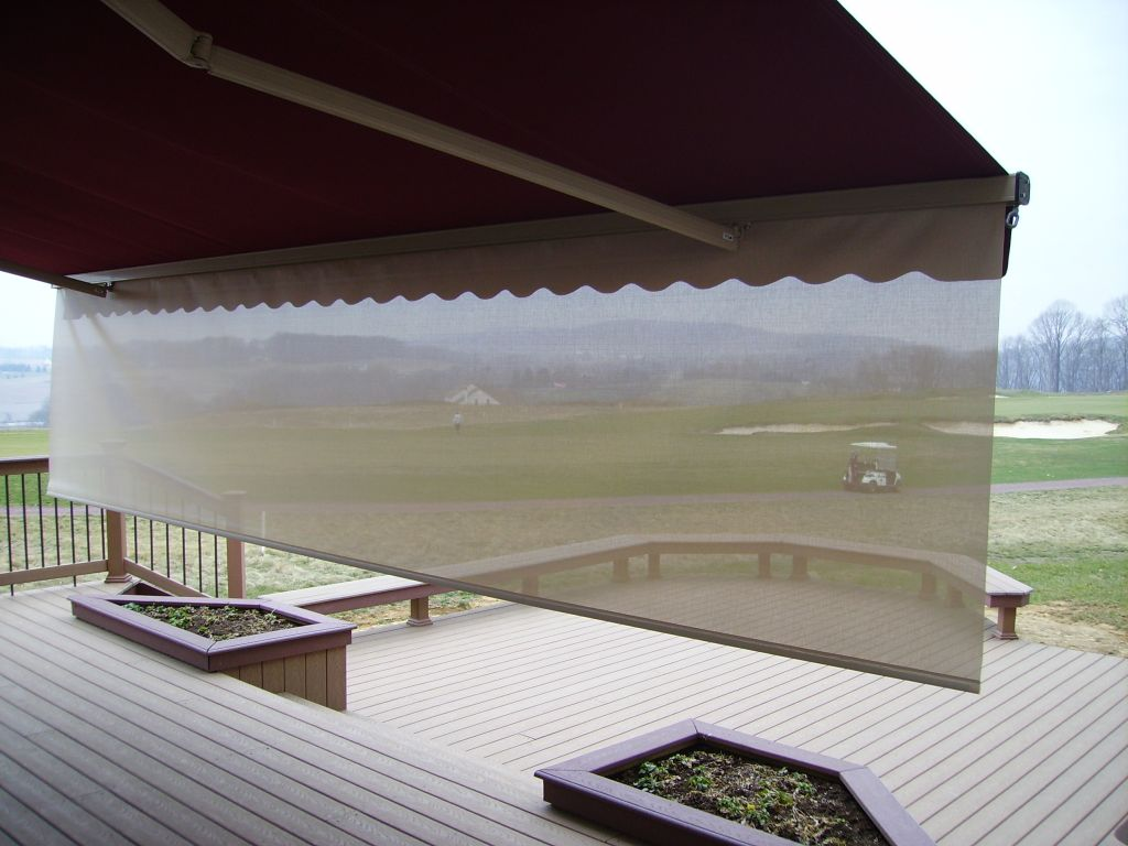 view through drop down sun valence on motorized retractable awning