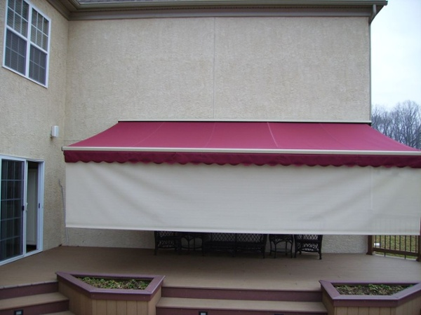 motorized retractable awning with drop valence plus rolled down