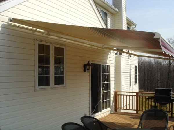 motorized retractable awning with waterproof fabric