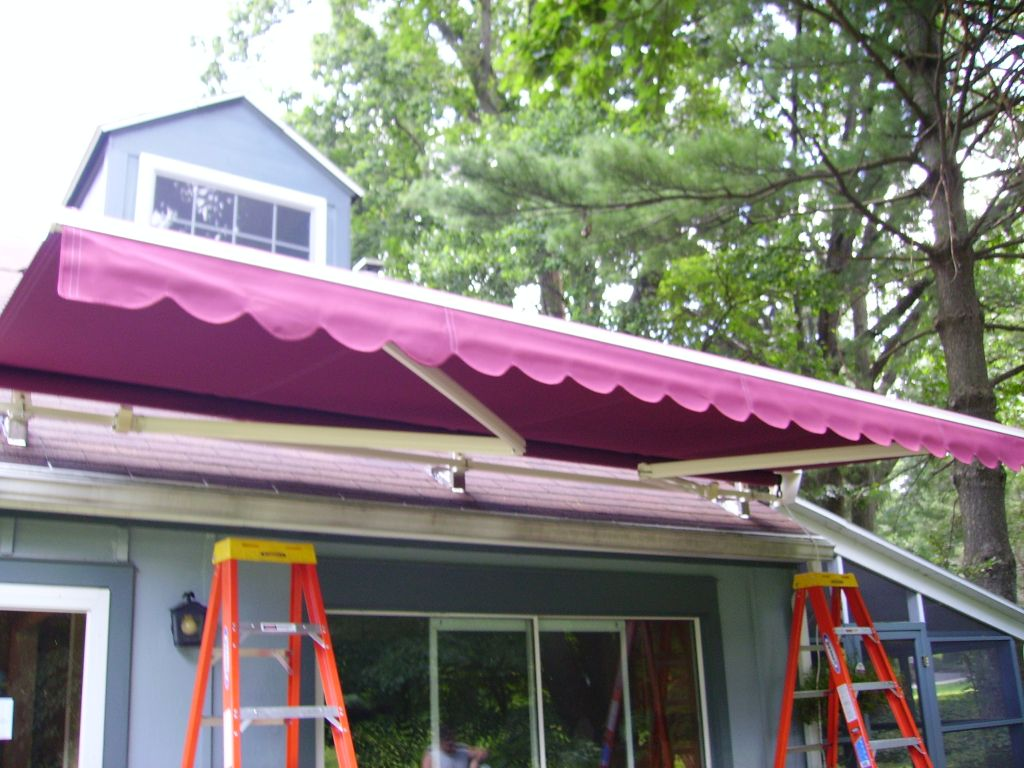 motorized retractable awning being extended