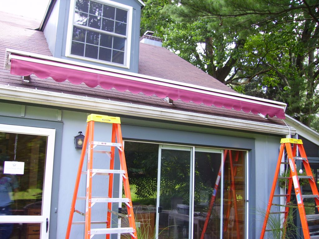 bright color on motorized retractable awning