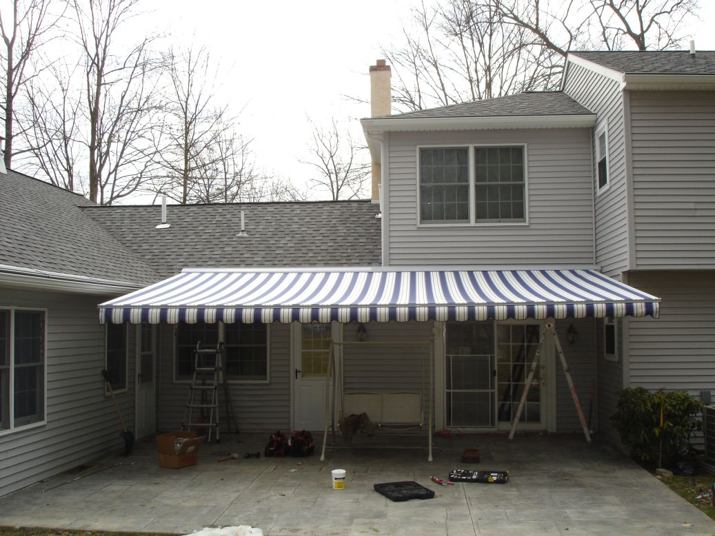 23 foot wide motorized retractable awning